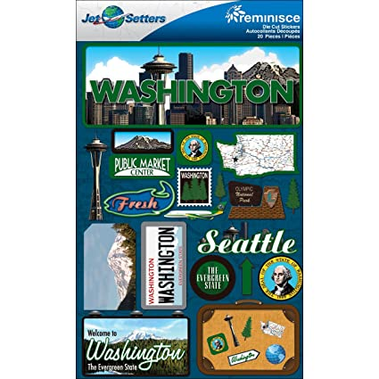 Amazon Reminisce Jet Setters Dimensional Stickers Washington