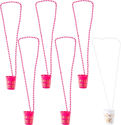 5pcs Girls Night Out Pink Shot Glass Necklace Bachelorette Party Supplies