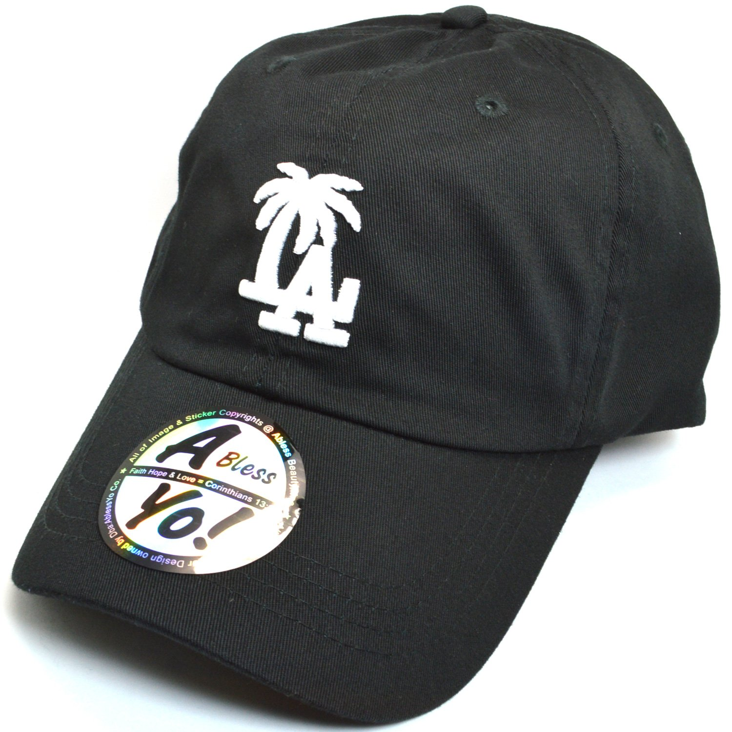 AblessYo LA Palm Tree Embroidered Baseball Golf Polo Style Unisex Cotton Cap AYO2015 (Black)