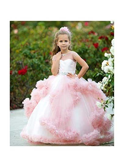 d076885dfe2d Amazon.com  Little Girls Dusty Rose Tulle Satin Mesh Crystals ...