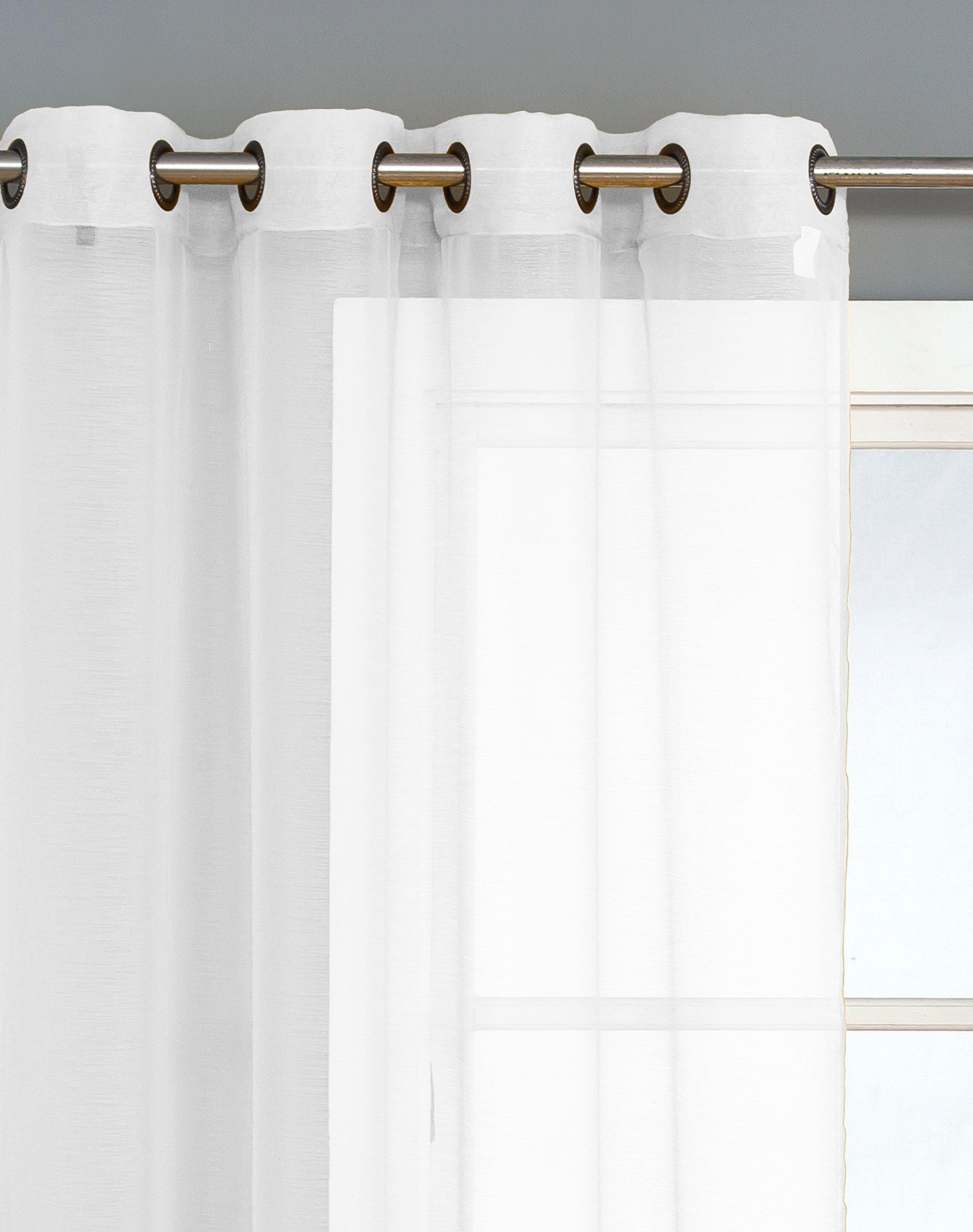 hlc me 2 piece sheer voile grommet curtain panels for bedroom white 90 inch long 2pc shr. Black Bedroom Furniture Sets. Home Design Ideas