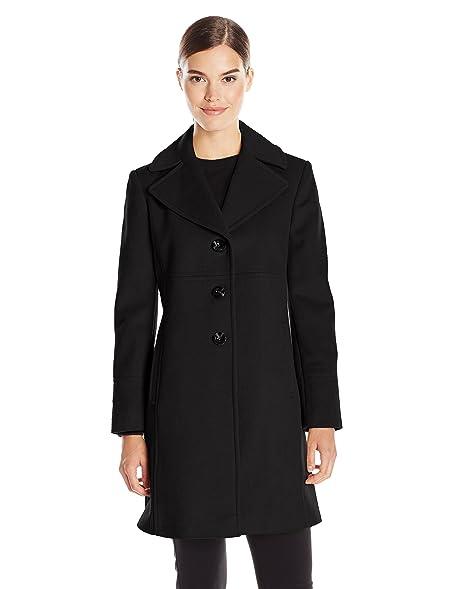 Amazon.com: LARRY LEVINE Women's Single-Breasted Notch Collar Wool ...