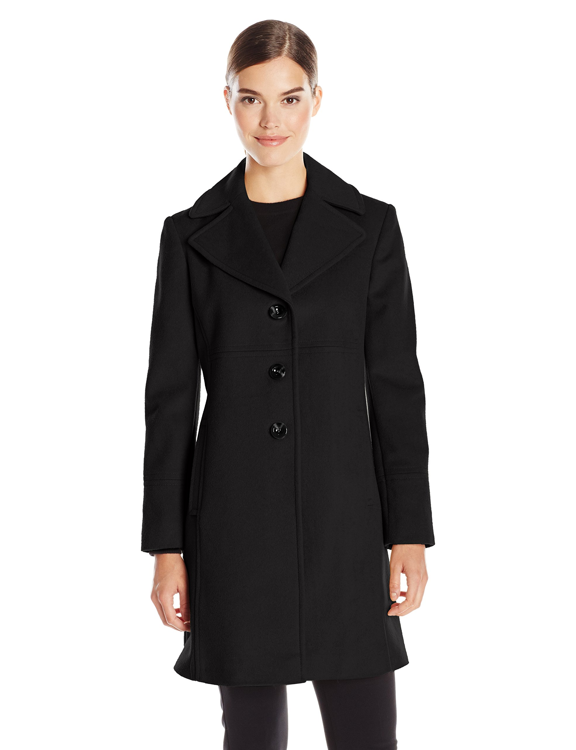 Larry Levine Women's Single Breasted Notch Collar Wool Coat, Black, 6