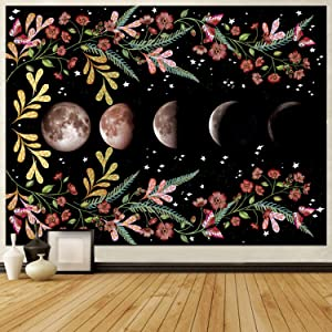 Moonlit Garden Tapestry Moon Phase Tapestry Flower Vine Tapestry Black Floral Tapestry Wall Hanging for Room, 59x51 Inches