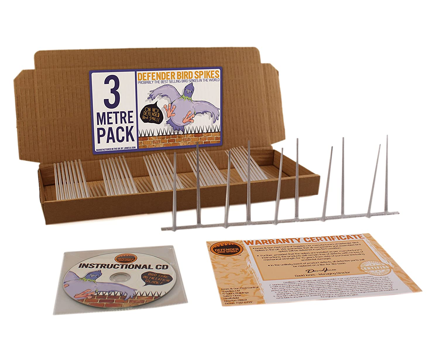 Defender Narrow Plastic Bird and Pigeon Spikes 3 Metre Pack - 9 x 334mm strips. A humane Bird and Pigeon Control Deterrent. Get rid of pigeons and scare birds with our anti-roosting repellent