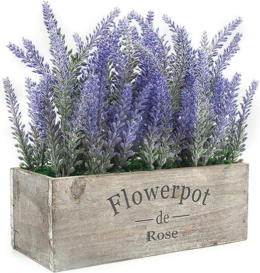Velener Artificial Flower Potted Lavender Plant for Home Decor Purple Flower, Wooden Tray