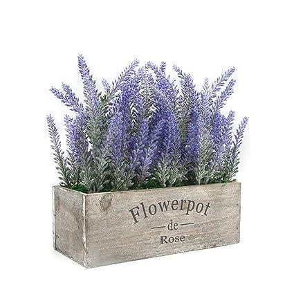 Amazon Com Velener Artificial Flower Potted Lavender Plant For Home