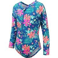 Girls Long Sleeve Rash Guard One Piece Swimsuit Kids UPF 50+ Sun Protection Swimwear Floral Bathing Suit 3-14 Years