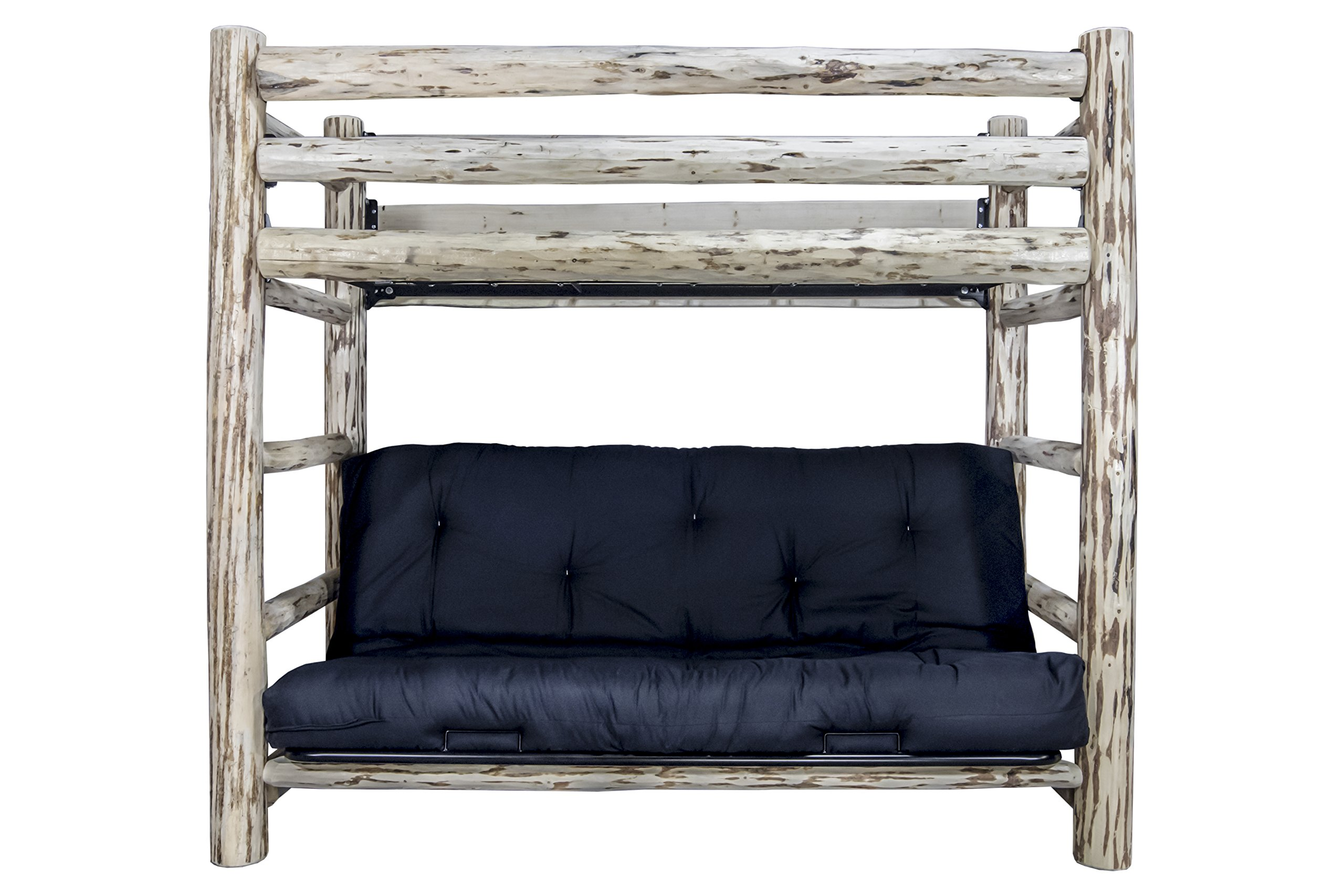 Montana Woodworks Montana Collection Twin Bunk Bed over Full Futon Frame with Mattress, Ready to Finish by Montana Woodworks