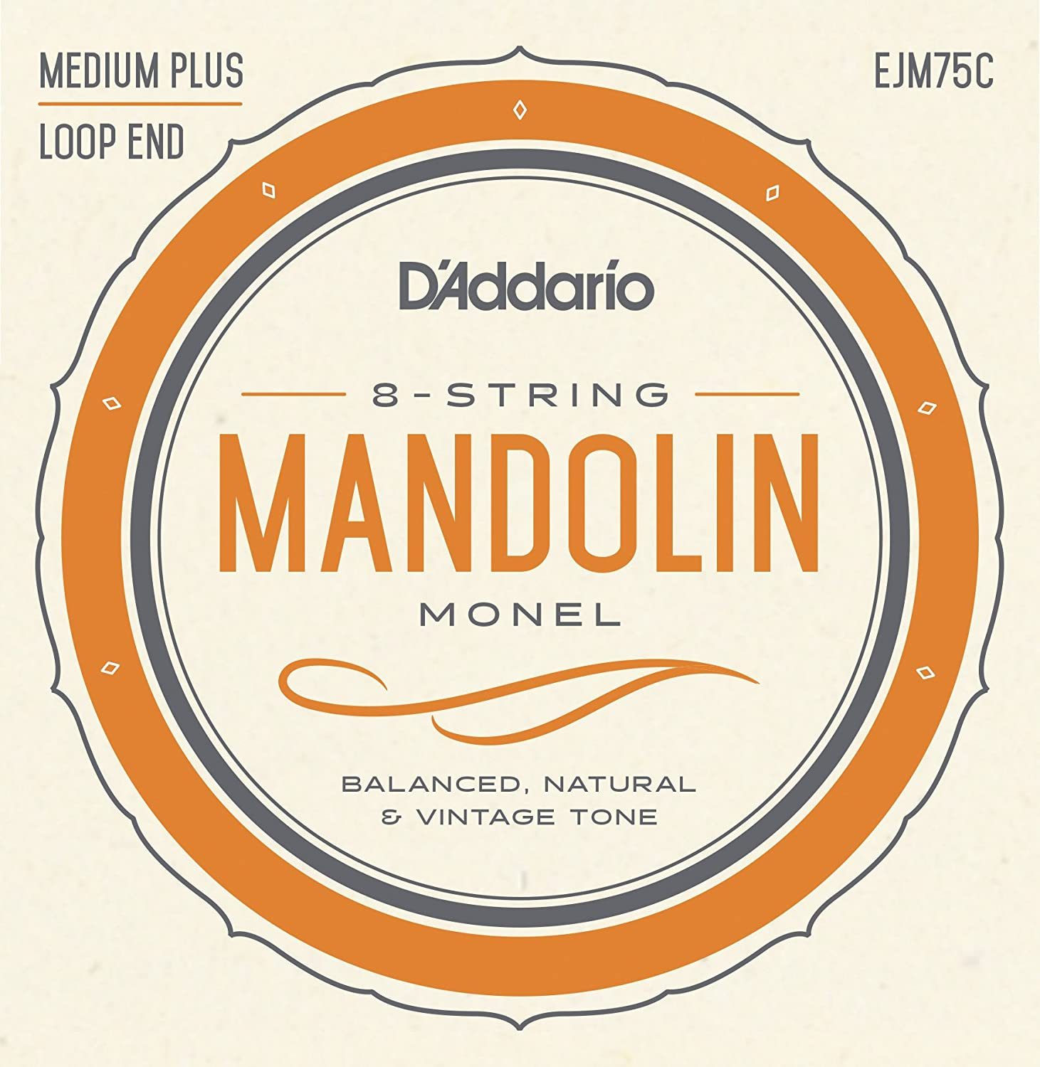 D'Addario Mandolin Monel Set, Medium Plus, 11-41 (EJM75C) D'Addario &Co. Inc