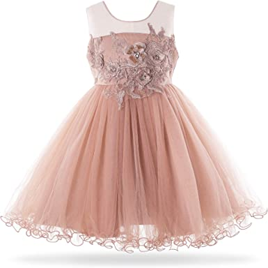 New Girls THE CHILDREN/'S PLACE Bright Pink Tiered Sparkle Festive Fun Dress