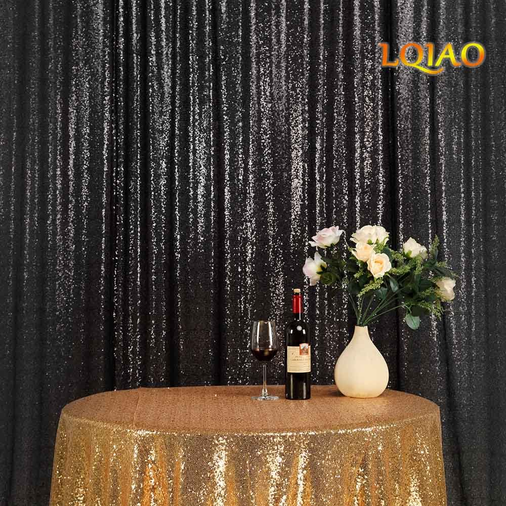 LQIAO Embroidered Sequin Fabric Backdrop Curtain 8FTx10FT Black Modern Window Drapes Sequin Curtain for living room/photo booth backdrop