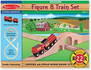 Melissa & Doug Classic Wooden Figure Eight Train Set (22 pcs)
