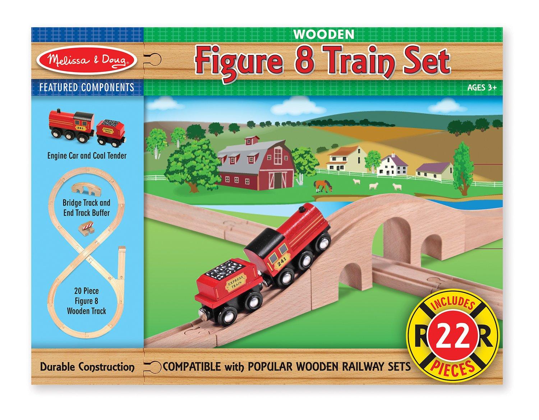 Amazon.com: Melissa & Doug Classic Wooden Figure Eight Train Set (22 ...