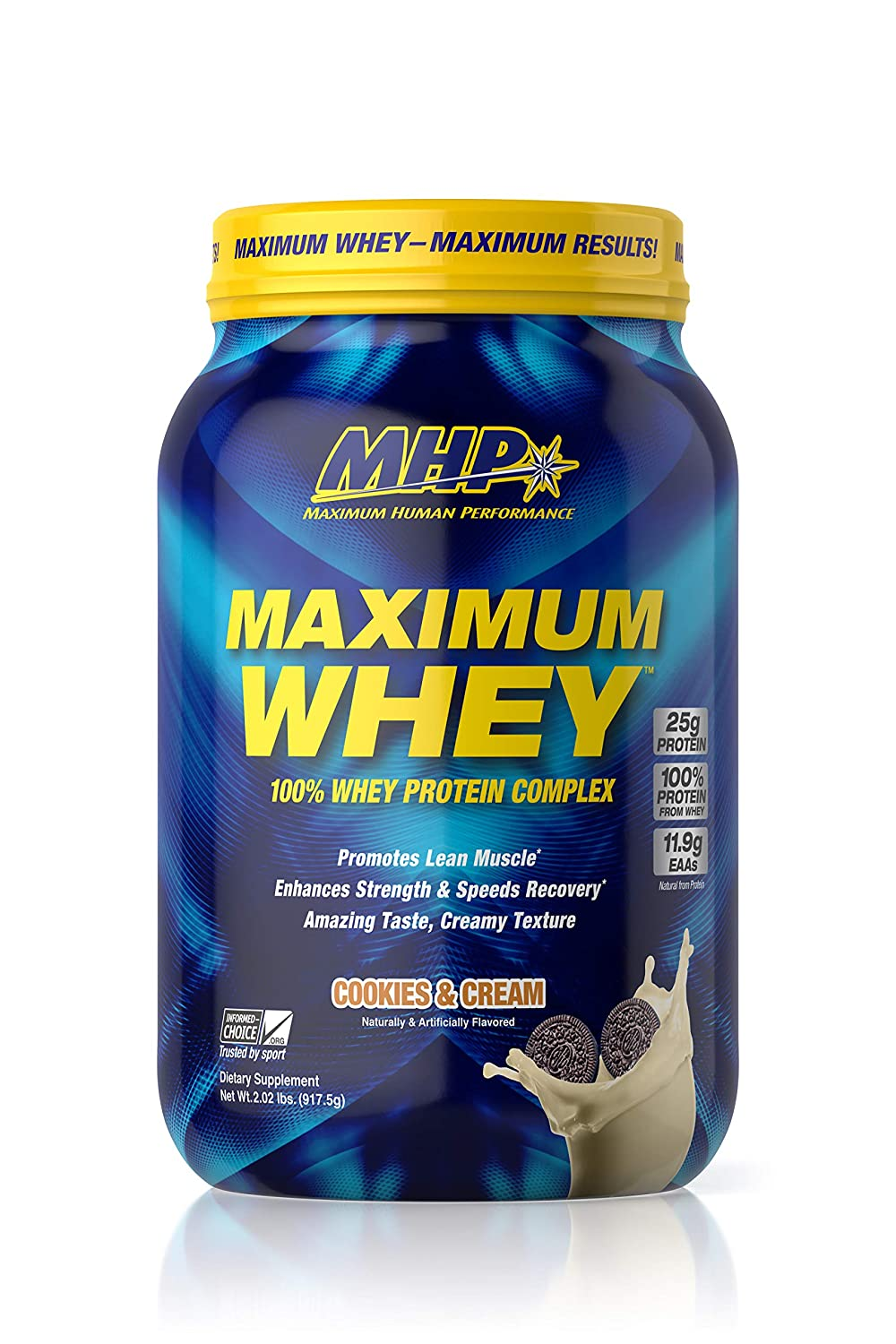 MHP Maximum Whey Protein, 25g Fast Acting Delicious Tasting Protein, Enhaces Strength Speeds Recovery, Cookies Cream, 25 Servings