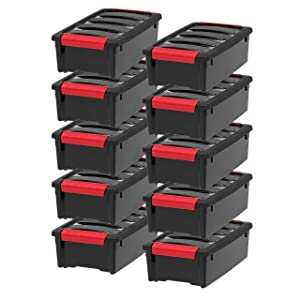 IRIS USA, Inc TB-35 Stack & Pull Storage Box, 5 Quart, Black