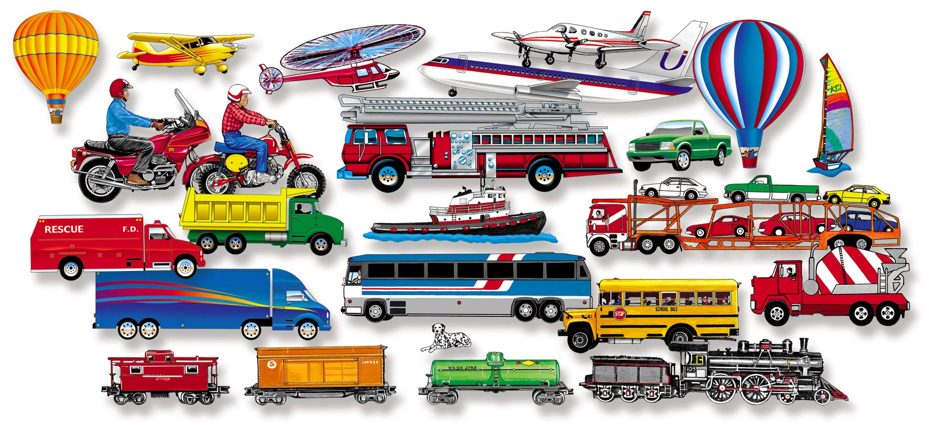 Little Folk Visuals Train, Trucks & Planes Precut Flannel/Felt Board Figures, 24 Pieces Add-On Set   by Little Folk Visual