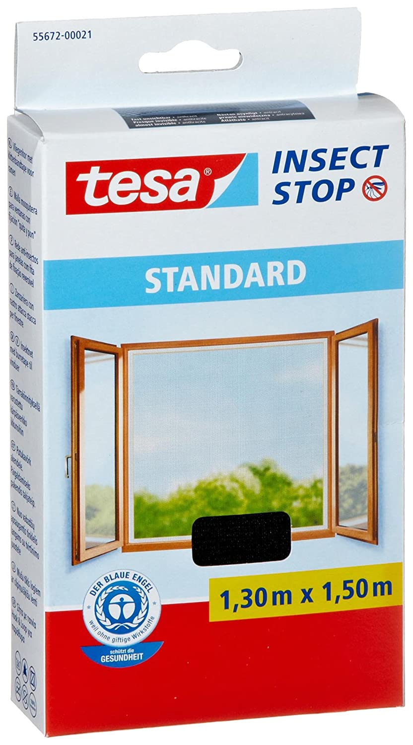 tesa 55672-00021-03 Insect Stop Hook and Loop Standard Easy To Use, Washable Insect Screen For Windows, 1.3 x 1.5 m - Anthracite