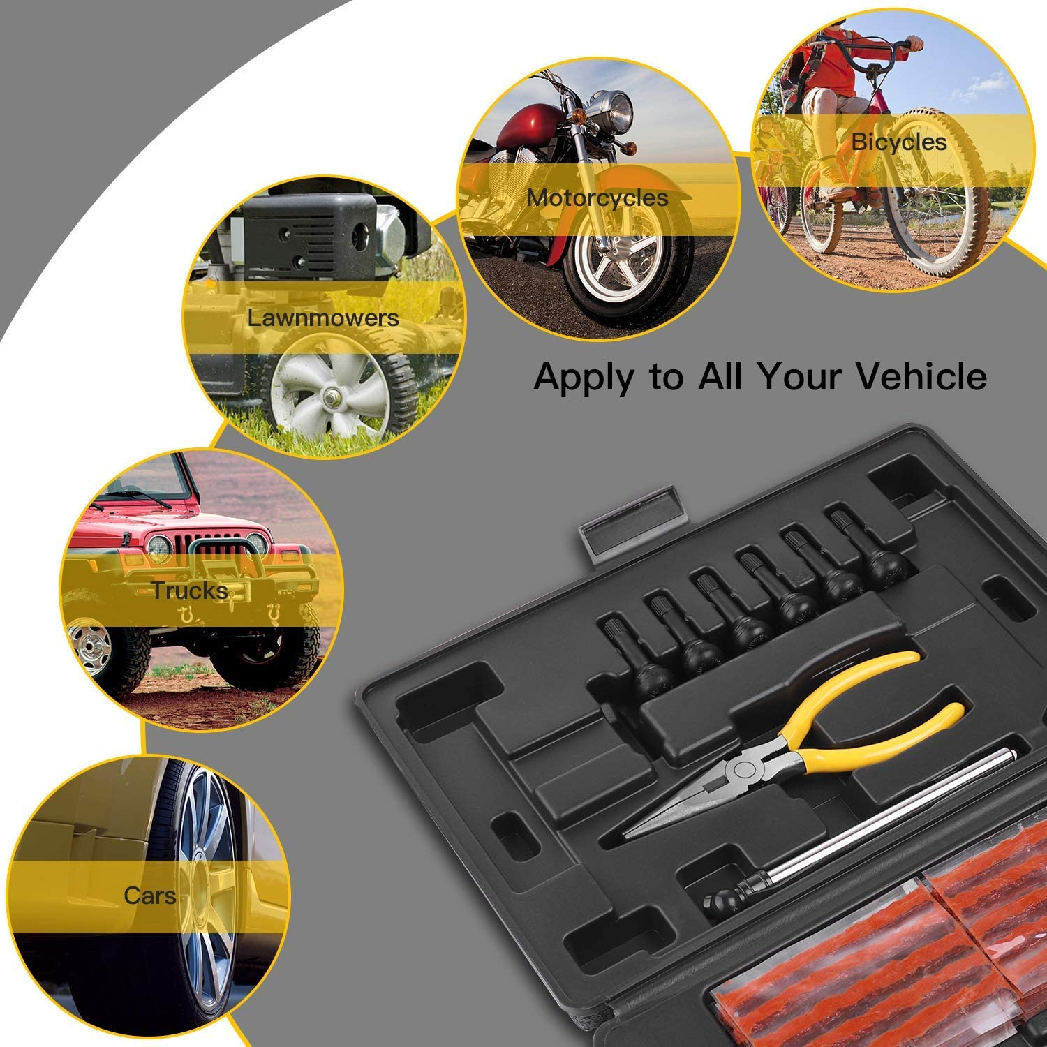 Trailer Motorcycle-Universal Tire Repair Tools to Fix Punctures and Plug Flats -100/% Quality Promise 94Pcs Heavy Duty Tire Plug Kit for Car Tractor Truck ATV Jeep TECCPO Tire Repair Kit RV
