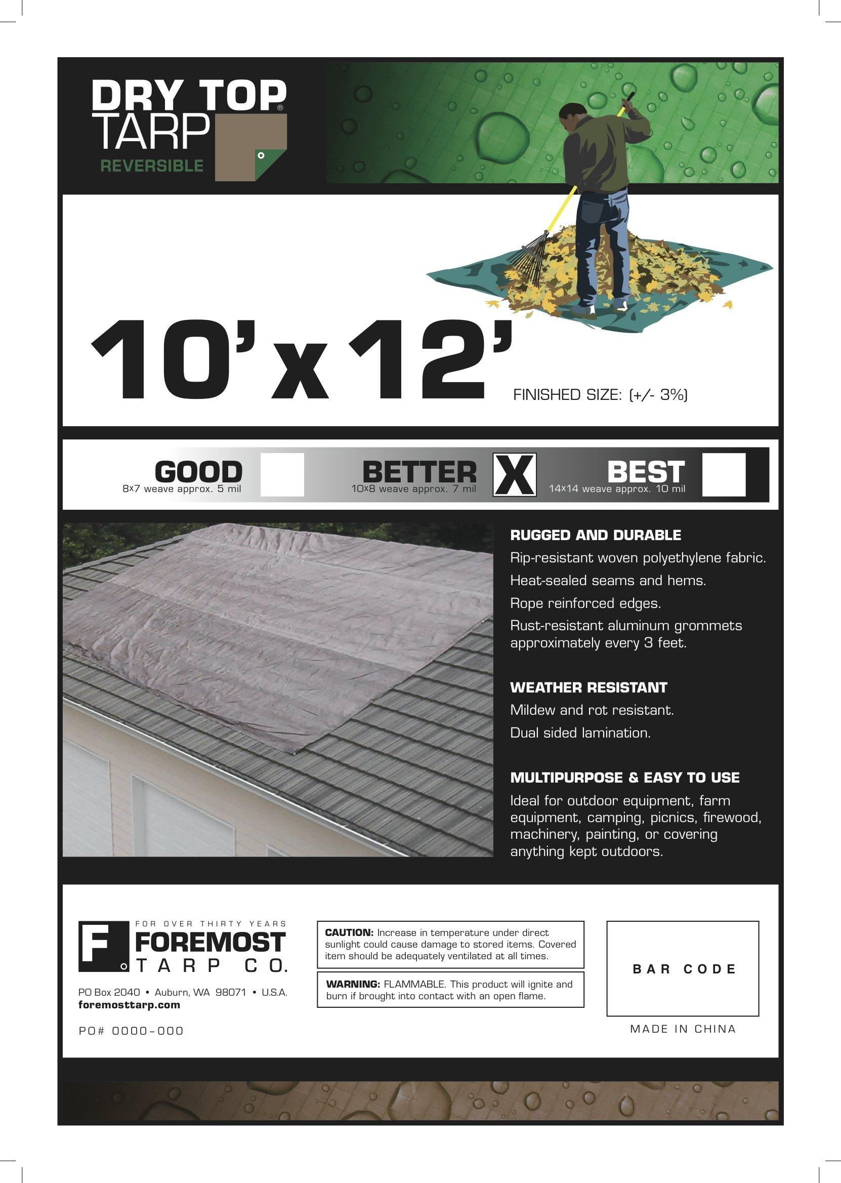 10x12 Multi-Purpose Brown/Green Medium Duty DRY TOP Poly Tarp (10'x12') by DRY TOP