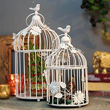 GIG Handicrafts Bird Cage with Floral Vine(White)-Set of 2