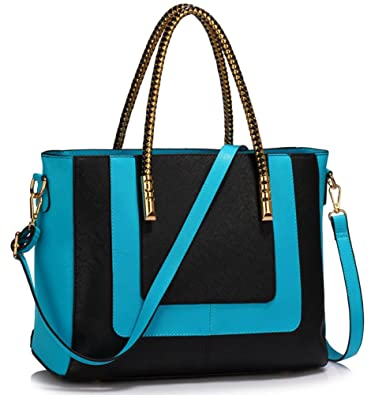 cad67fcd27 LeahWard Women s Large Nice Great Handbags College Work Tote Shoulder Bags  318 (Black Teal