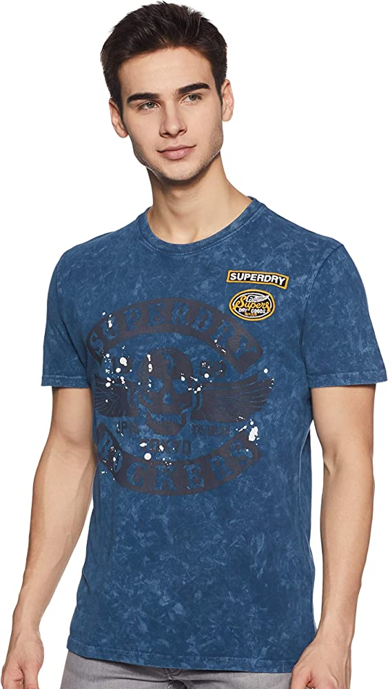 Superdry Black Letter tee Camiseta, Azul (Skate Navy A7q), Small ...