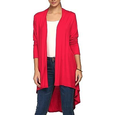 ACEVOG Women Long Sleeve Waterfall Asymmetric Draped Open Long Maxi Cardigan