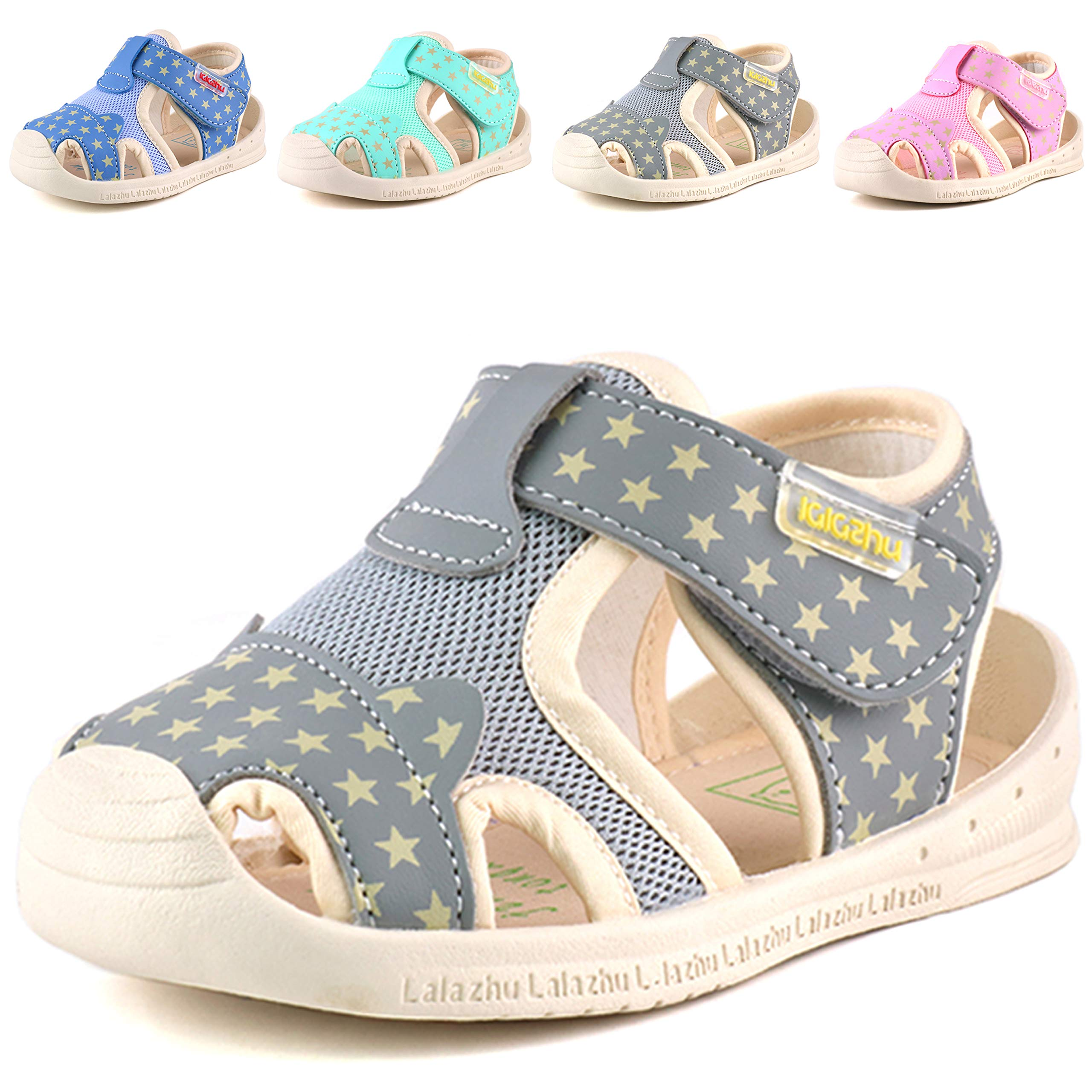 Moceen Kids Soft Microfiber Leather Sandals Light-Up Toddler Boys/Girls Closed Toe Pre School Shoes,Grey,8102 115