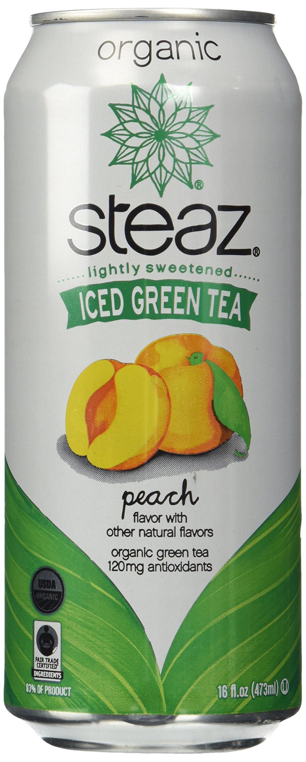 Steaz Organic Iced Teaz, Green Tea with Peach, 16 oz Cans, 12 pk