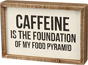 Primitives by Kathy Inset Box Sign - Caffeine is The Foundation of My Food Pyramid