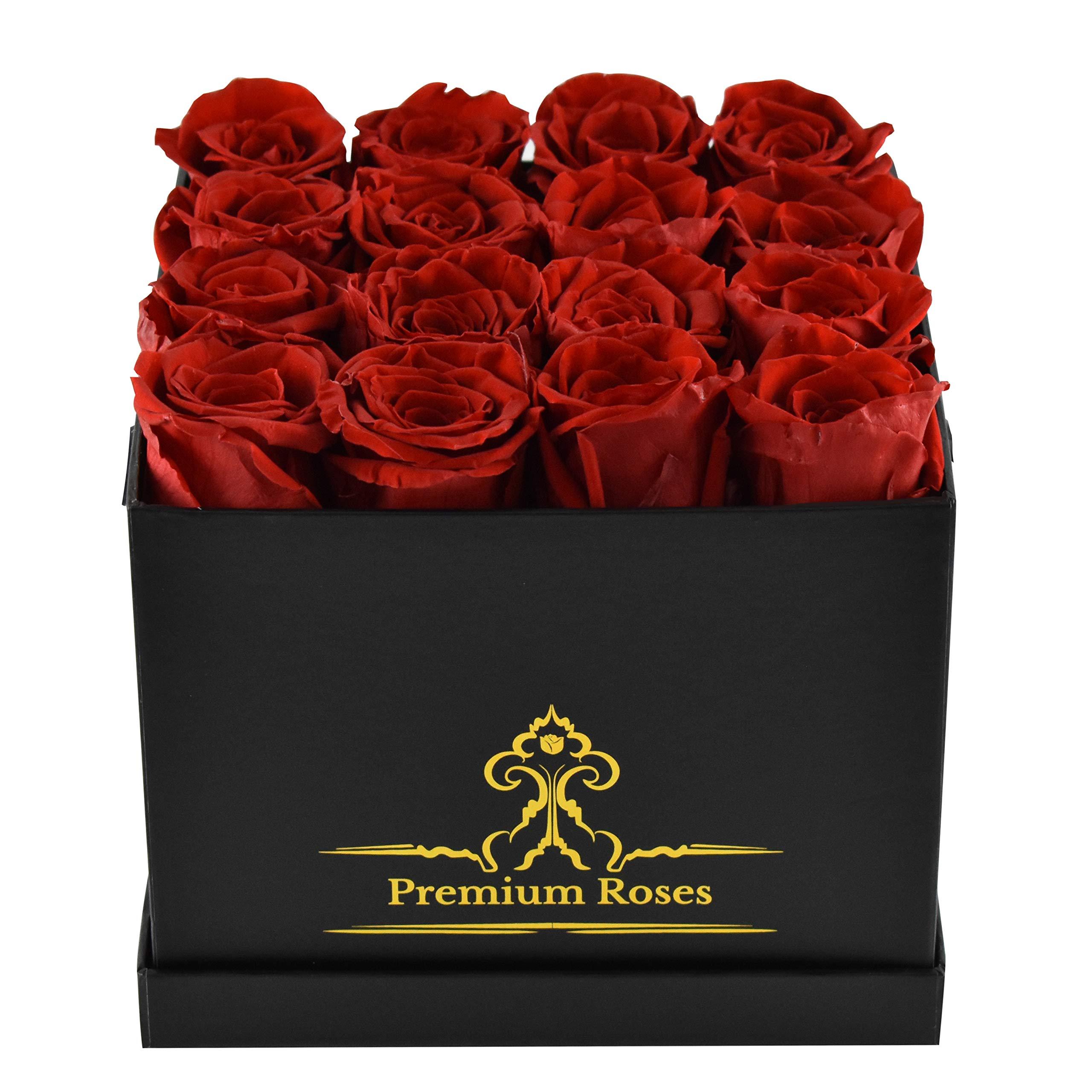 Premium Roses | Model Posh | Real Roses That Last 365 Days | Roses in a Box| Fresh Flowers (Black Box, Medium)