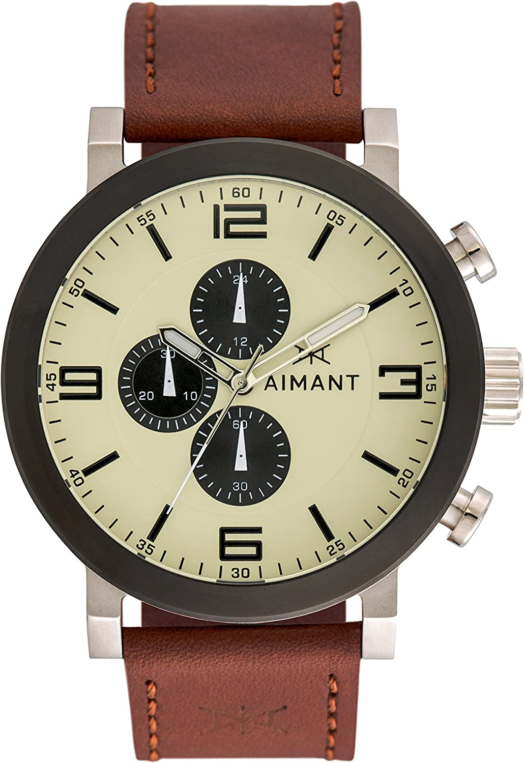 AIMANT Maui Cronograph Watches 50 MM Men s Analog Watch Leather