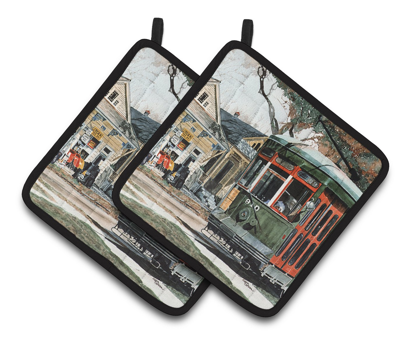Caroline's Treasures New Orleans Street Car Pair of Pot Holders 8108PTHD, 7.5HX7.5W, Multicolor