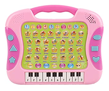 Pasaca Toys Kids Spanish Learning Laptop, Learning Piano with 6 Learning Game, Touch Tablet,...