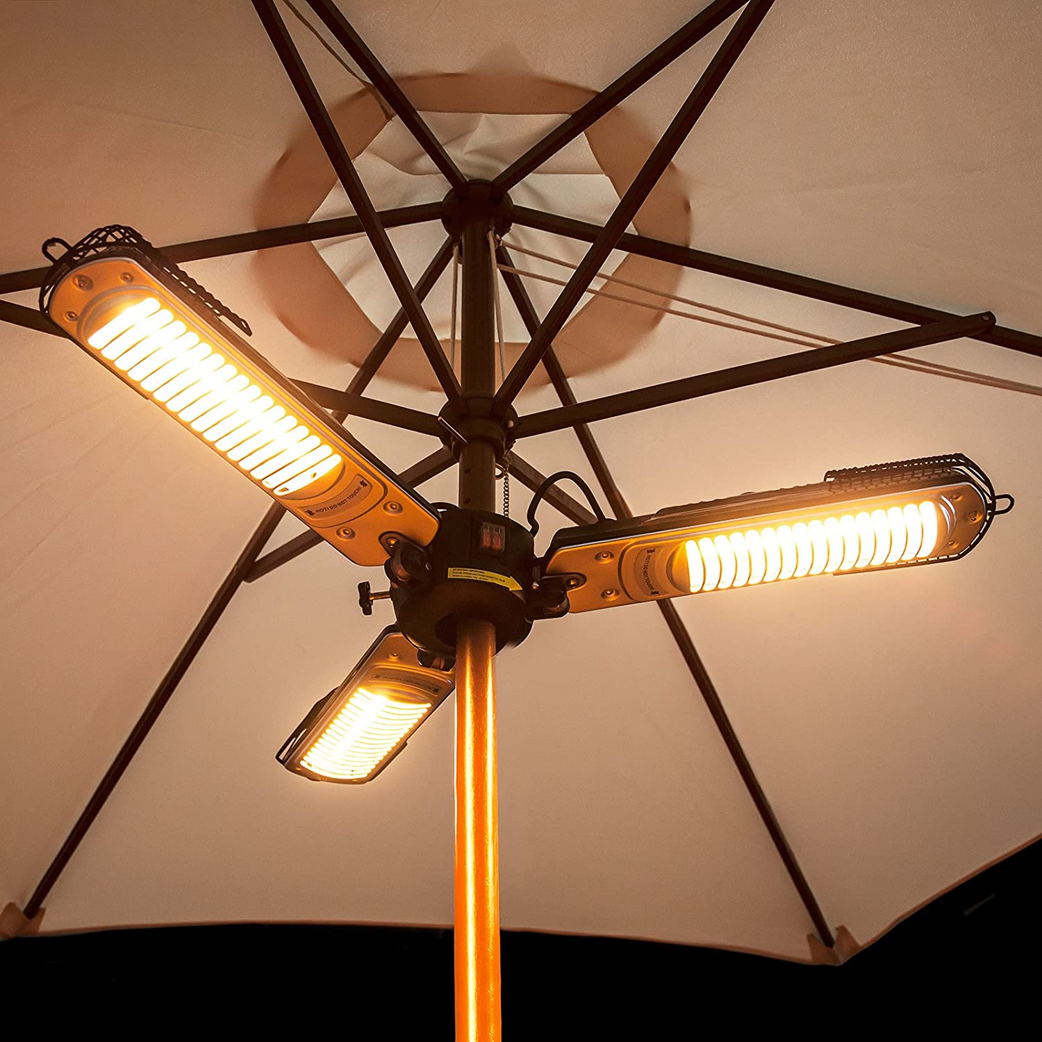 Electric Halogen Parasol Heater - Foldable Arms, 1m Wide Fire Mountain