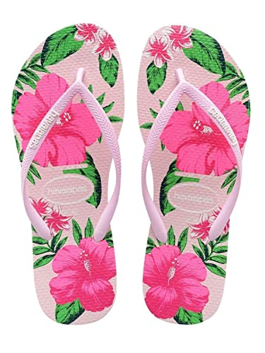 f268e2938120 Havaianas Slim Floral Print Flip Flops Sandals Navy Blue   Pink Rose All  Sizes  Amazon.co.uk  Shoes   Bags