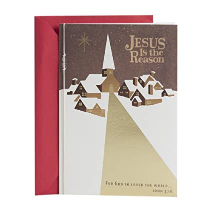 hallmark mahogany religious christmas card jesus is the reason - Amazon Christmas Cards