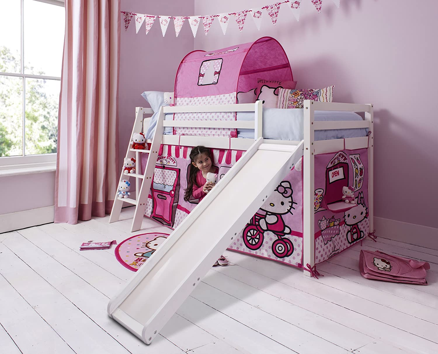 best loved 2b05e bcacb Noa and Nani - Midsleeper Cabin Bed with Slide and Hello Kitty Tent -  (White)