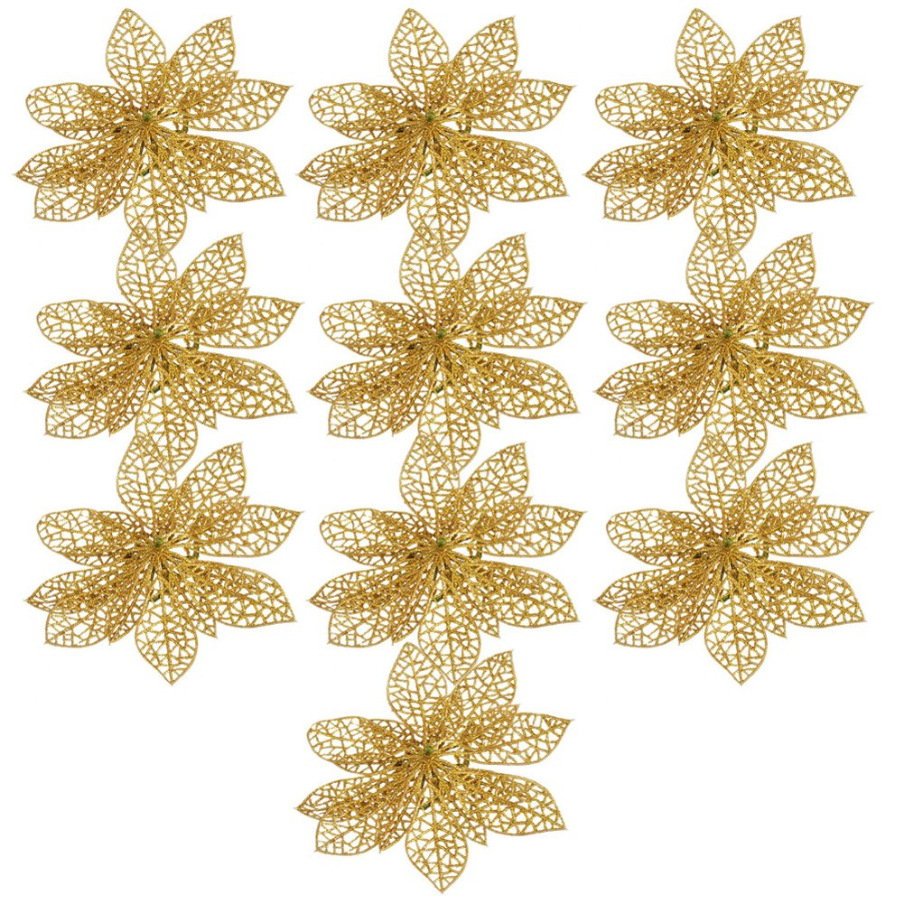 NNDA CO Christmas plastic flowers ,10pcs 6 Christmas Flowers Xmas Tree Decorations Glitter Hollow Wedding Party (gold)