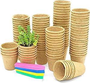 F&T 100pcs Peat Pots for Seedlings Seed Starter Tray Garden 100% Eco-Friendly Organic Germinat