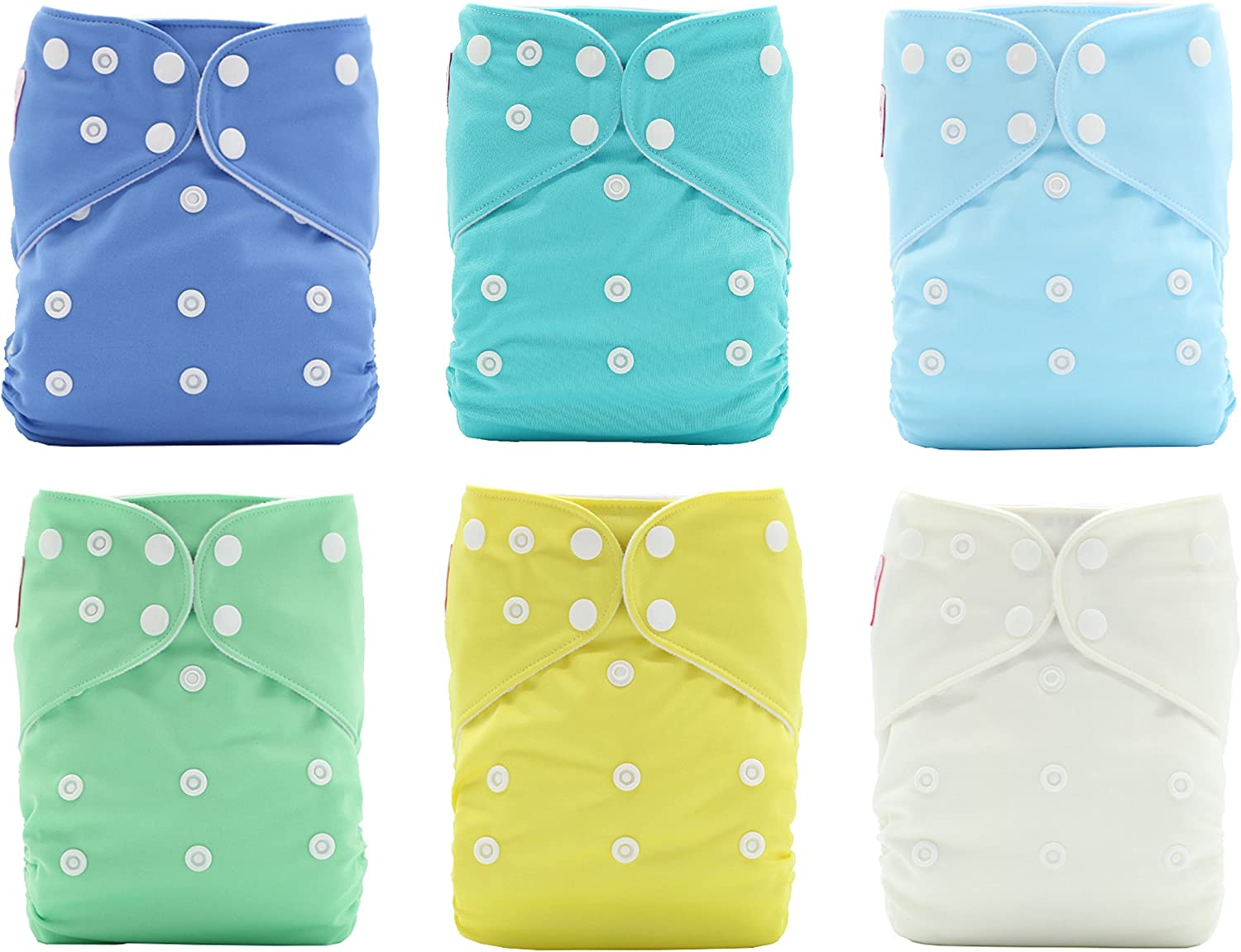 Gentle on Baby Skin 6 Washable Inserts for Leakproof Protection Environmentally Friendly Reusable Cloth Baby Diapers for Boys /& Girls - PINK /& BLUE Aqua A Set of 6 Pcs - Double Pockets 8-35lbs+