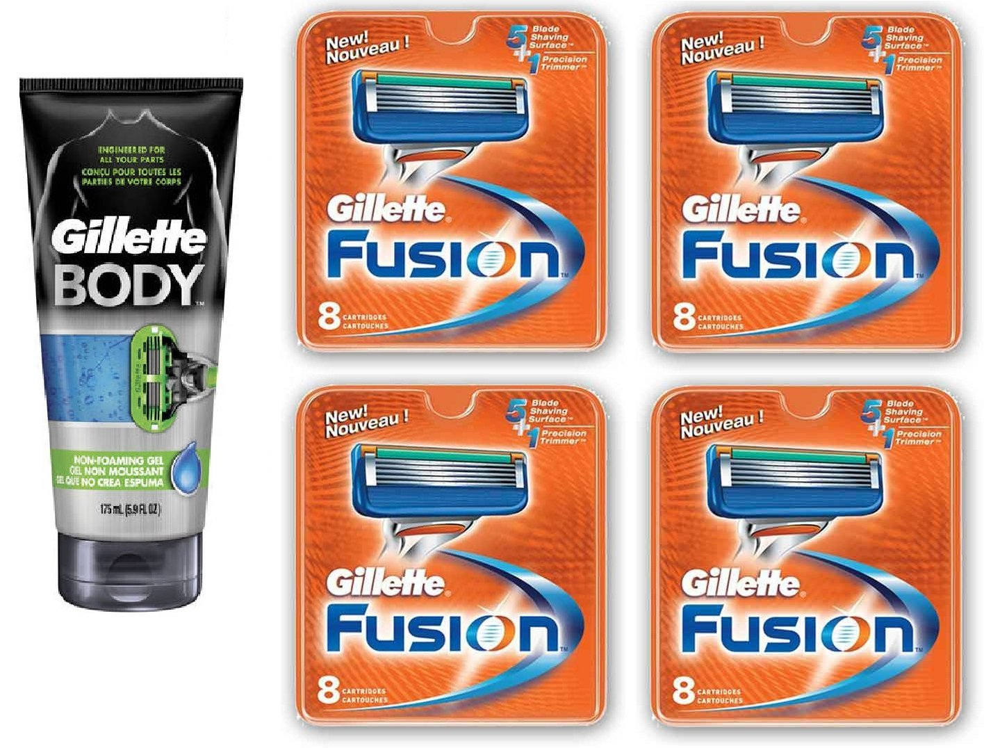 Gillette Body Non Foaming Shave Gel for Men, 5.9 Fl Oz + Fusion Refill Blades 8 Ct (4 Pack) + FREE Assorted Purse Kit/Cosmetic Bag Bonus Gift