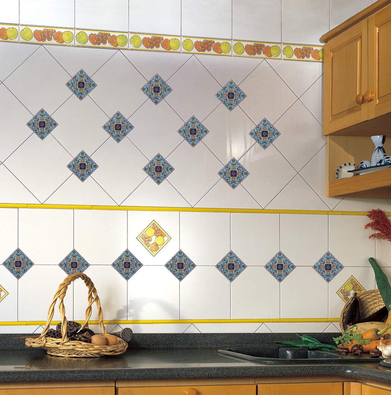 EXTSUD Adesivi Diagonali per Piastrelle Muro Pavimento, Set da 40 Pezzi 10x10cm, Wall Stickers da Mattonelle Parete in PVC Impermeabile Autoadesivo Decorazione per Cucina Bagno (10x10cm, Blu) TDS005