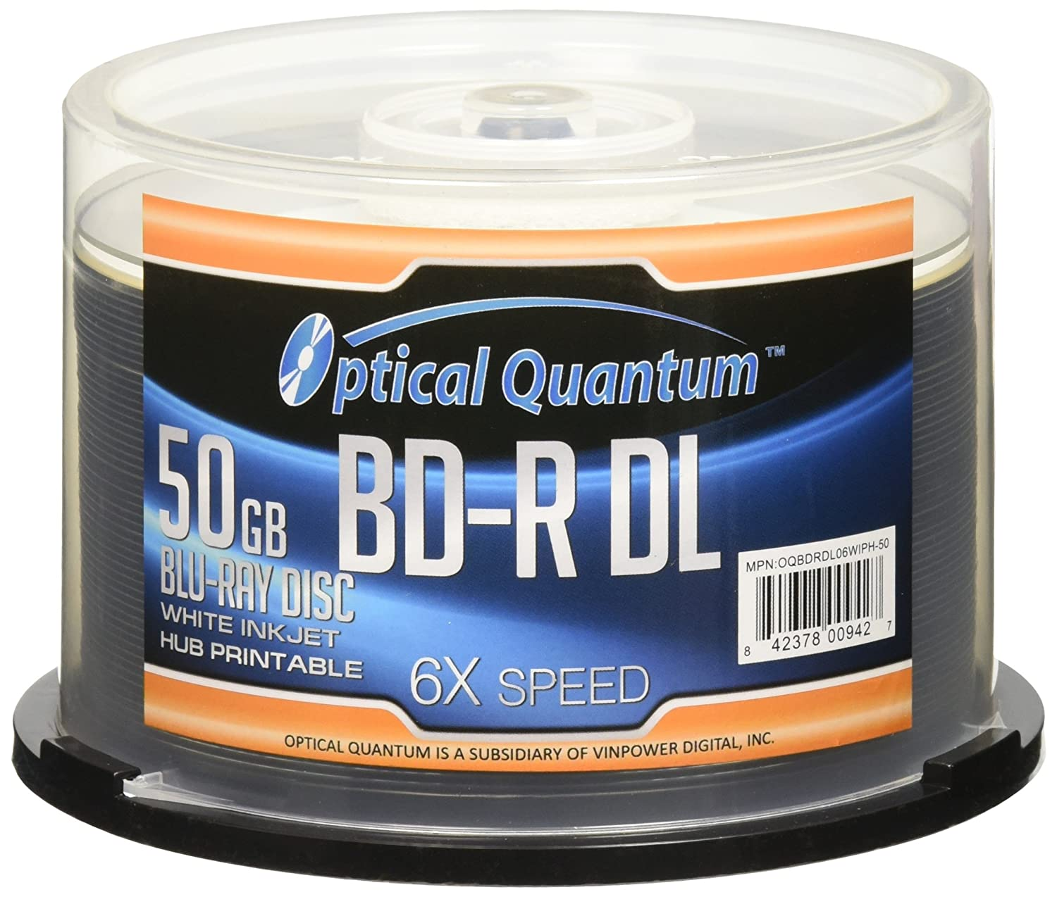 Optical Quantum 6X 50GB BD-R DL White Inkjet Printable Blu-ray Double Layer Recordable Media , 50-Disc Spindle OQBDRDL06WIP-50