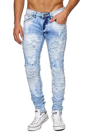 Megastyl Herren Hose Jeans Ripped Destroyed Slimfit Hellblau  Amazon.de   Bekleidung 3fea2f2d2e
