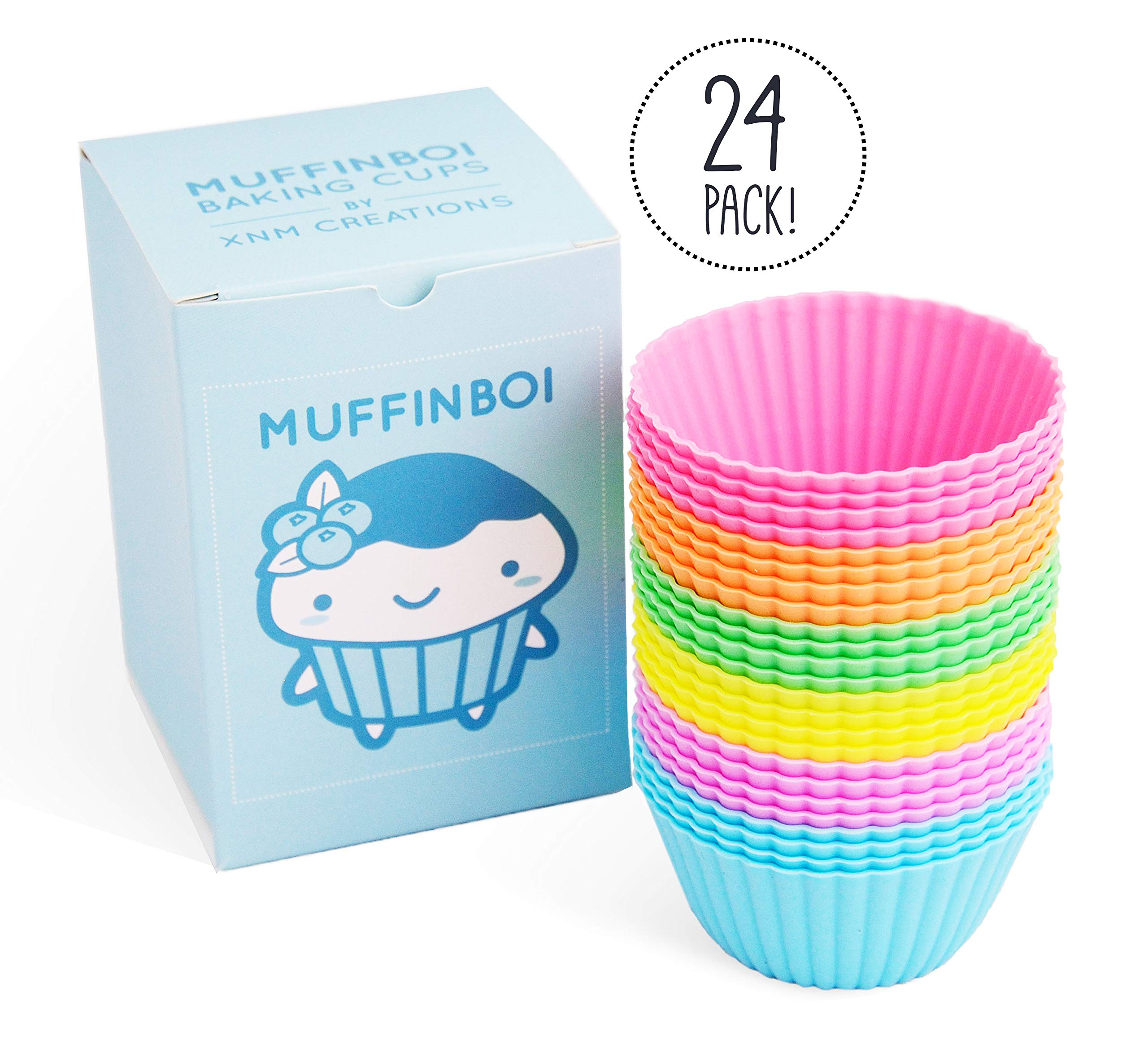 Muffinboi by XNM Creations | Premium Silicone Baking Cupcake Muffin Liner Cups | Standard Size | 24 Pack | Pastel Colors by Muffinboi