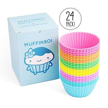 Muffinboi by XNM Creations | Premium Silicone Baking Cupcake Muffin Liner Cups | Standard Size | 24 Pack | Pastel Colors