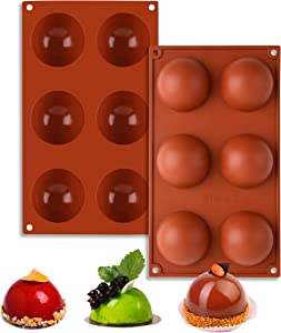 Large 6 Holes Semi Sphere Silicone Mold,2 Packs Mold for Making Hot Chocolate Bomb, Cake, Jelly, Pudding,Handmade Soap,BPA Free Cupcake Baking Pan