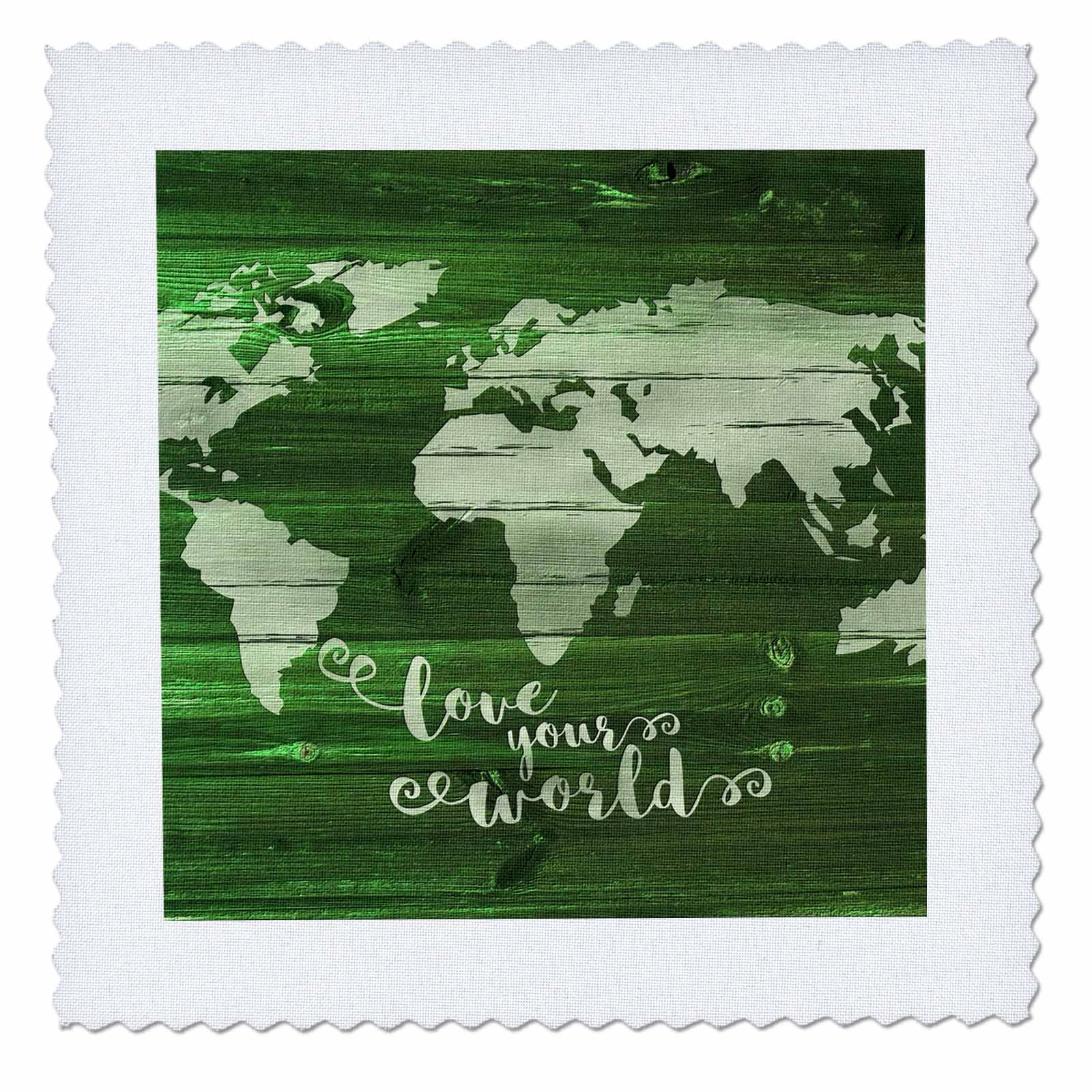 3dRose Russ Billington Designs - Love Your World- White Paint on Green Wood Effect- Not Real Wood - 22x22 inch quilt square (qs_261906_9)